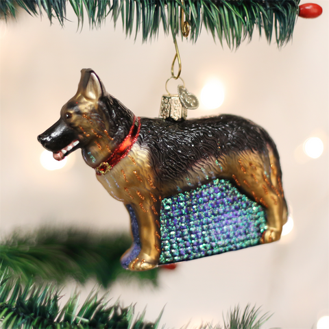 German Shepherd Glass Ornament