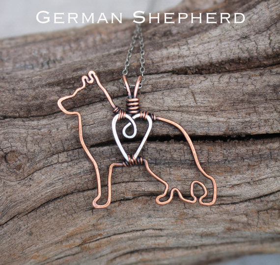 """Copper German Shepherd Pendant with Sterling Silver Heart & Chain"""