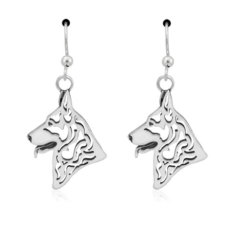 """Sterling Silver German Shepherd Earrings"""