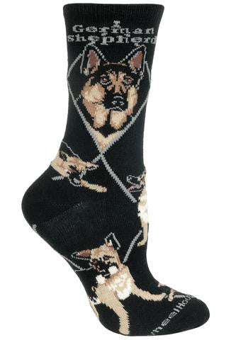 """German Shepherd Socks on Black"""