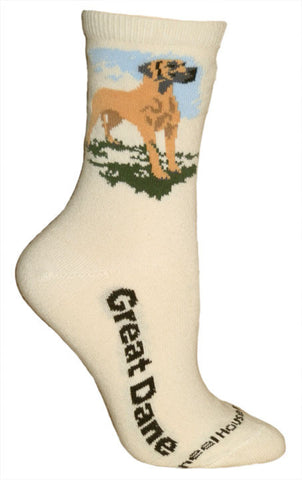 Great Dane Socks on Natural (natural ears)