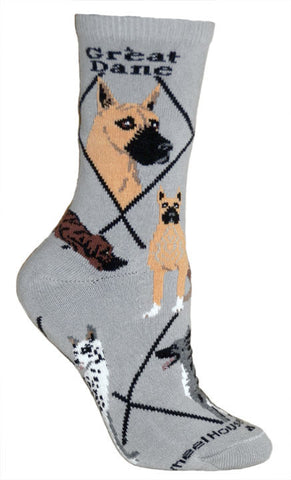 Great Dane Socks on Gray (Cropped Ears)
