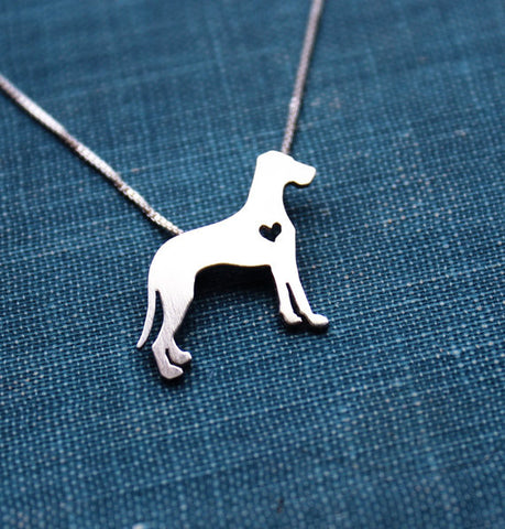 """Sterling Silver Great Dane (natural) Pendant and Chain"""