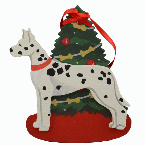 Decorated Tree & Great Dane Ornament - Harlequin