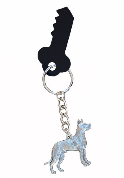 Antiqued Pewter Great Dane Keychain