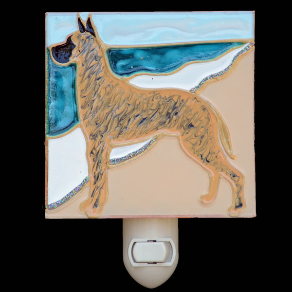 """Stained Glass Great Dane Night Light"" - Brindle Dane"