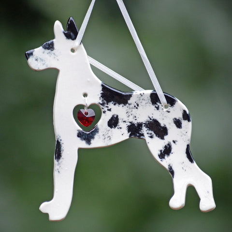 """Porcelain Great Dane Ornament"" - Harlequin"
