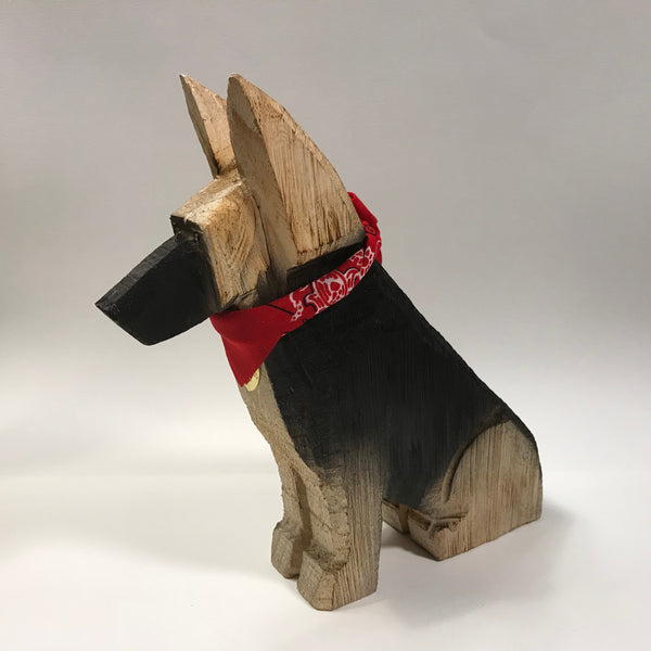 """German Shepherd Dog Wood Carving - Limited Supply"""