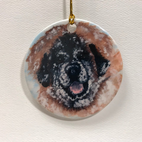 """Snow Covered, leonberger ornament"""