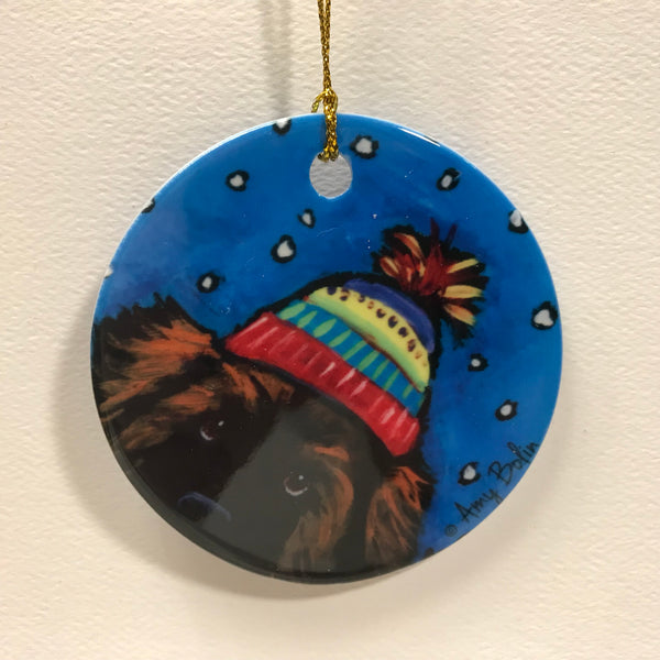 """Winter Hat, leonberger ornament"""