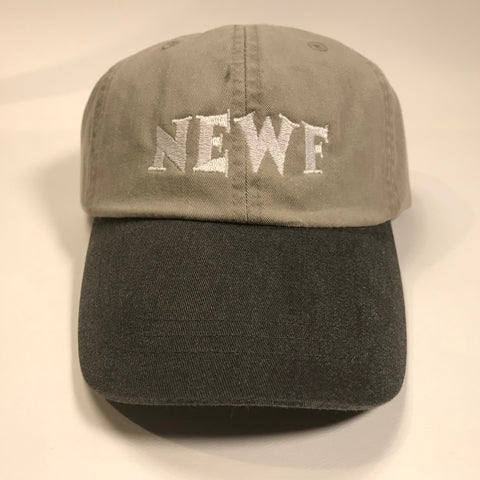 NEWF, embroidered cap - stone & white