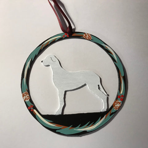 Hand Painted Great Dane Metal Ornament - White