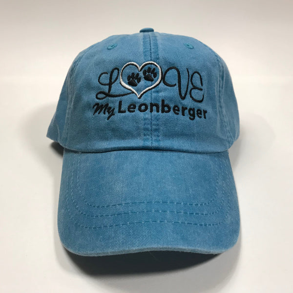 """Love my Leonberger, embroidered cap - blue"""