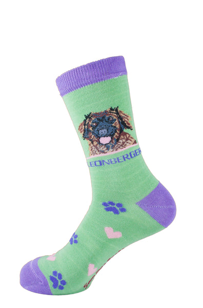 leonberger socks for women - green & purple