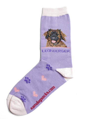 leonberger socks for women - purple & pink