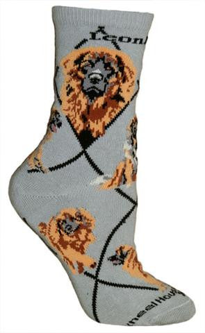 """Leonberger Socks on Gray"""
