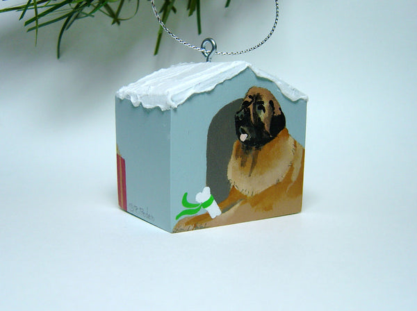 """Hand painted doghouse ornament - Leo"""