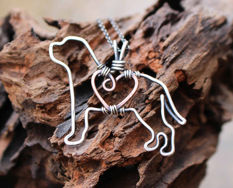 """Copper Mastiff Pendant with Sterling Silver Heart & Chain"""