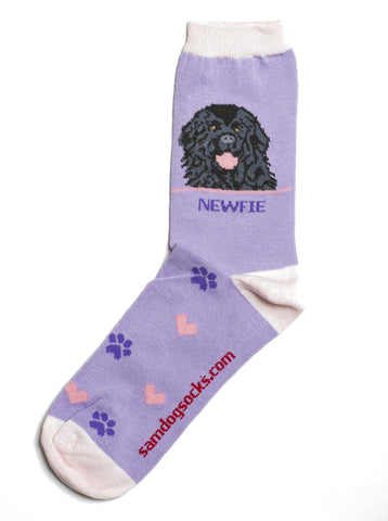 Newfie socks for women - purple & pink