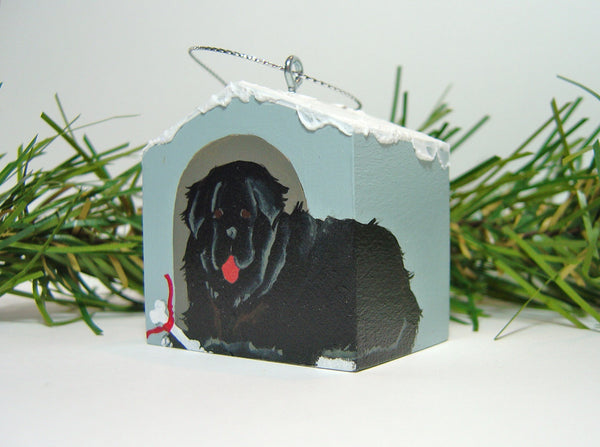 """Hand painted doghouse ornament - Newfoundland, Black"""