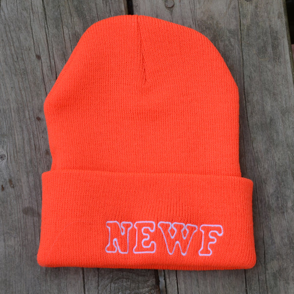 Adult Knit Beanie - Newf, orange, white embroidery