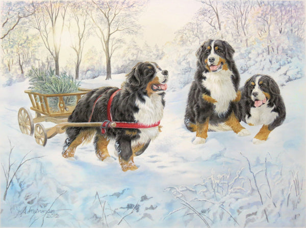 Berners in the snow - 672 piece puzzle