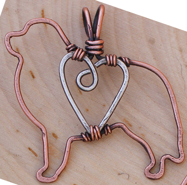 Copper Pyrenees Pendant with Sterling Silver Heart & Chain