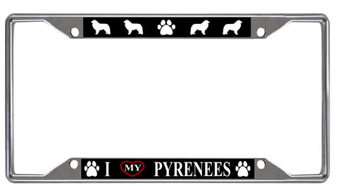 I love My Pyrenees License Plate Frame