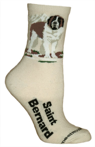 """Saint Bernard Socks on Natural"""