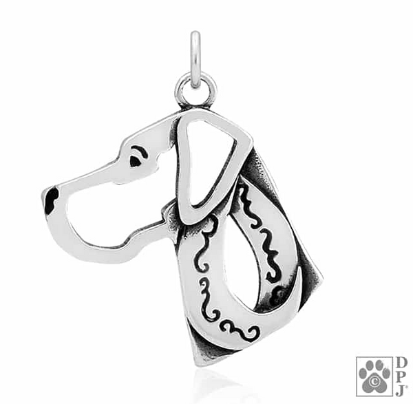 """Sterling Silver Great Dane Pendant, Natural Ears Head"""