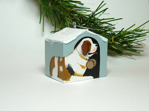 """Hand painted doghouse ornament - Saint"""