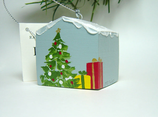"""Hand painted doghouse ornament - Pyr"""