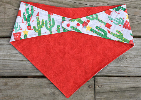 2 sided, adjustable quick snap bandana 2XL - x-mas cactus