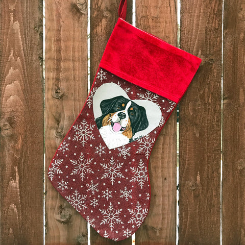 Hand Painted Bernese Christmas Stocking