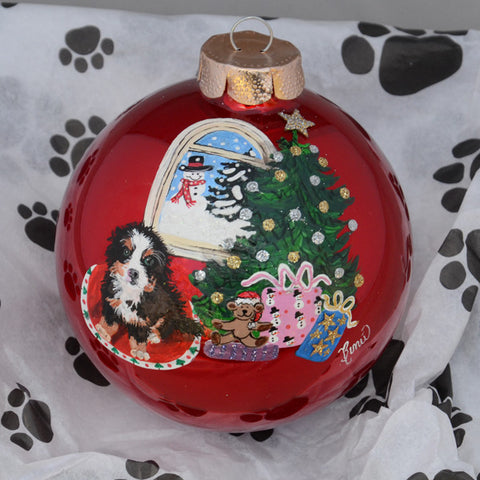 Hand Painted Bernese Mountain Dog Ornament