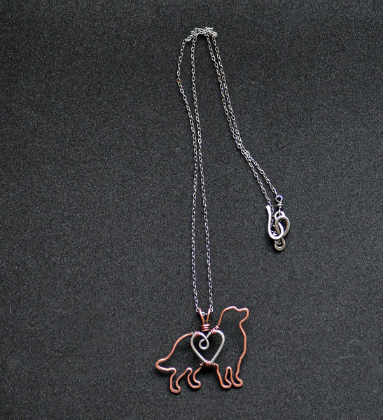 """Bernese Mountain Dog Pendant with Sterling Silver Heart & Chain"""