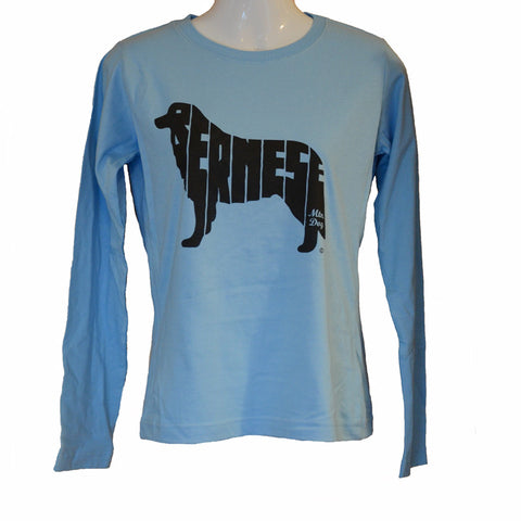 Women's Cut Long Sleeve BERNESE Tee - Light Blue