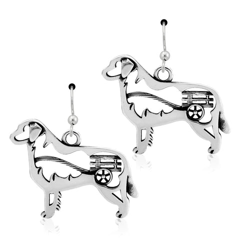 """Sterling Silver Bernese Earrings, w/Cart in Body"""