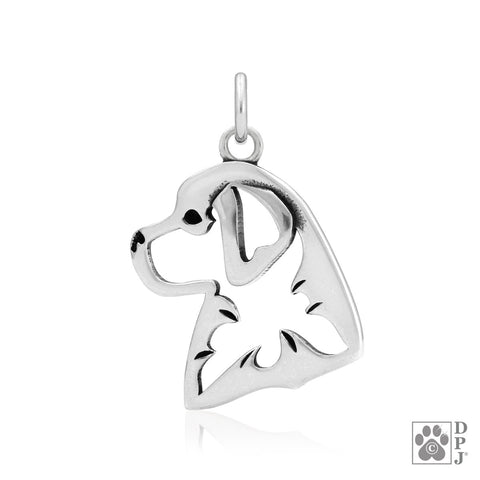 """Sterling Silver Bernese Mountain Dog, Head, Pendant"""