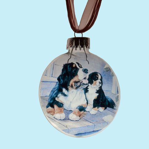 """Bernese Holiday Glass Disk Ornament"""
