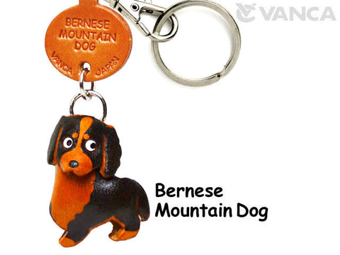 Three Dimensional Leather Bernese Keychain