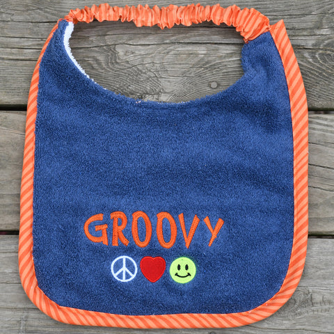 groovy, Drool Bib - orange stripe