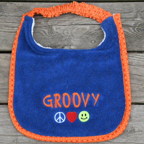 groovy, Drool Bib - orange dots
