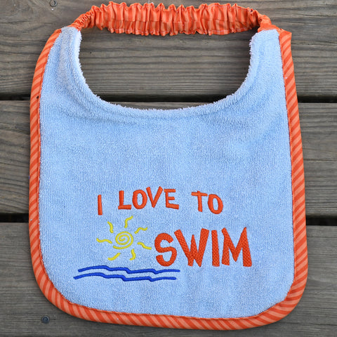 i love to swim, Drool Bib