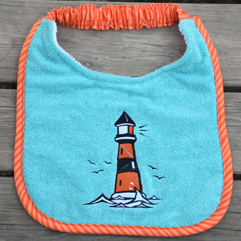 lighthouse, Drool Bib - green/orange
