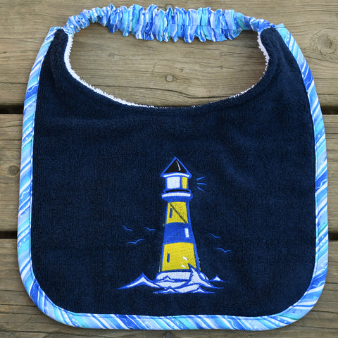 lighthouse, Drool Bib - blue/yellow