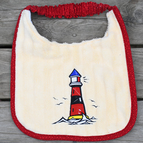 lighthouse, Drool Bib - yellow/red