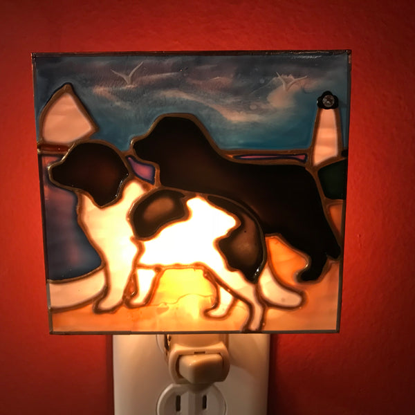 """Stained Glass Black & Landseer Night Light"""