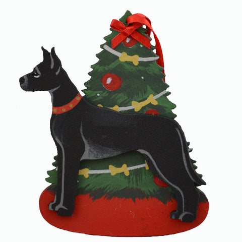 Decorated Tree & Great Dane Ornament - Black