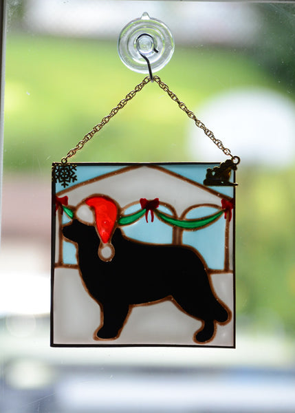 Stained Glass Newf Ornament with Gazebo